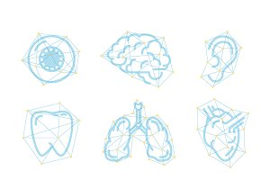 Set of nine futuristic organs icons