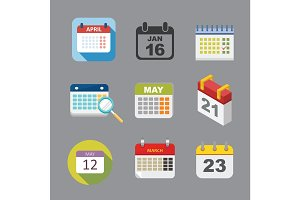 Vector calendar icon set.