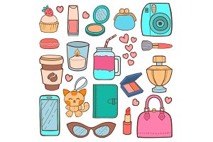 Cute hipster stickers patch vector illustration.