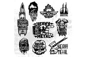 Heavy rock music badge vector set.