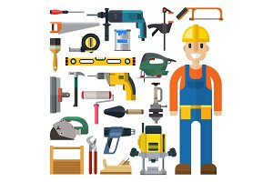 Construction man and building tools vector set.