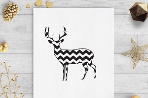 chevron deer svg dxf