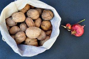 walnuts, pomegranate