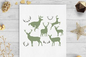 deer and anters svg dxf