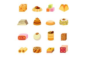 Sweets dessert isolated food vector.