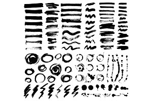 Artistic brush stroke vector set.
