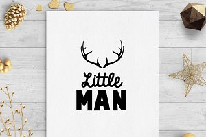 little man antlers svg dxf