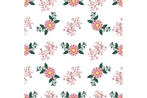 Floral wreath seamless pattern vector.