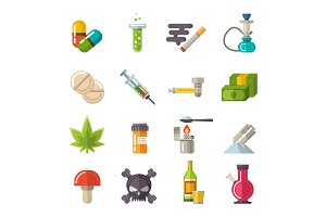 Drugs icons set vector.