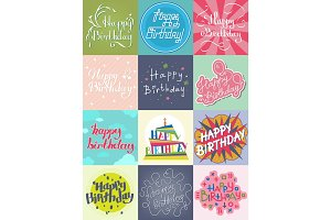 Happy birthday card template vector.