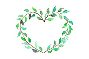 Watercolor heart shaped leaf wreath