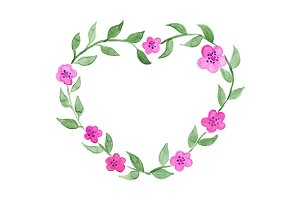 Watercolor flower heart wreath