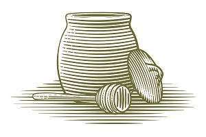 Woodcut Honey Jar