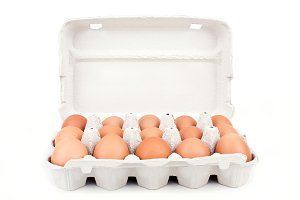 Eggs in cardboard packaging isolated