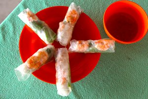spring rolls with shrimp and noodles sauce