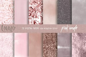 PinkNude Glam Digital Papers Texture