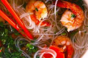 thai soup with noodles shrimps japanese sticks