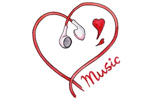 Earphones heart love music vector