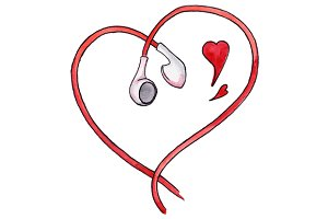 Earphones heart love music vector