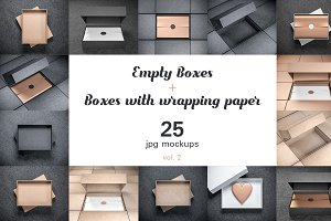 25 Boxes Mockups with wrapping paper