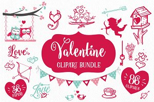 Valentine Clipart Bundle 86 cliparts
