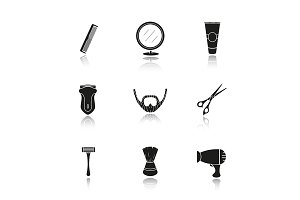 Shaving accessories. 9 icons. Vector