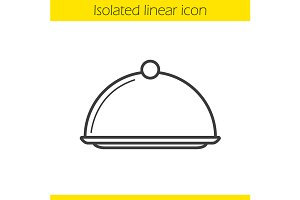 Covered dish icon. Vector
