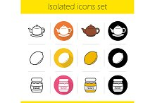 Breakfast items. 12 icons. Vector