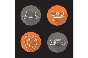 Gentleman's fashion. 4 icons. Vector