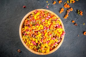 Colorful kavatappi pasta in bowl
