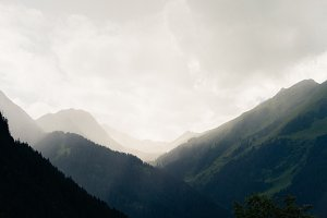 Foggy Mountain Landscape in Austria