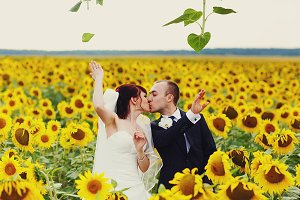 Bride and groom with sunflowers