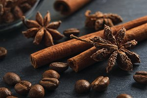 Ingredients: anise star, cinnamon sticks and coffee beans