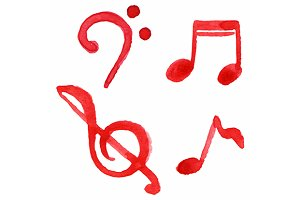 Red notes music symbol set