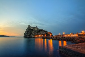 Aragonese castle at sunrise. Bay of Naples, Ischia island, Italy
