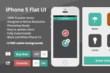 Flat iOS UI Kit with 2 flat iPhones