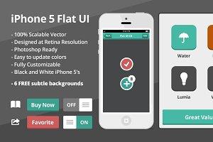 Flat iOS UI Kit with 2 flat iPhones