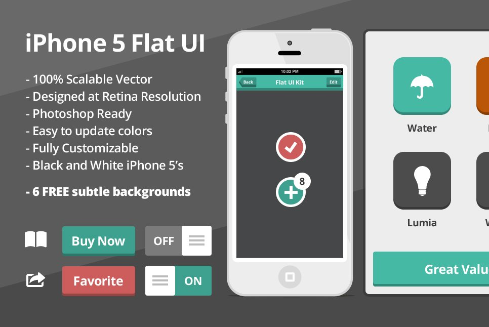 flat ios ui kit with 2 flat iphones website templates creative