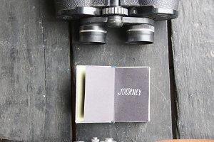Journey retro concept. Hipster vintage accessories for travel. Soft focus.