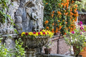Fountain in a medieval Mexican house