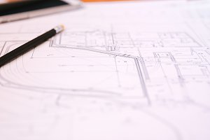 Architectural plan on the table