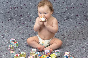 Little baby with blocks