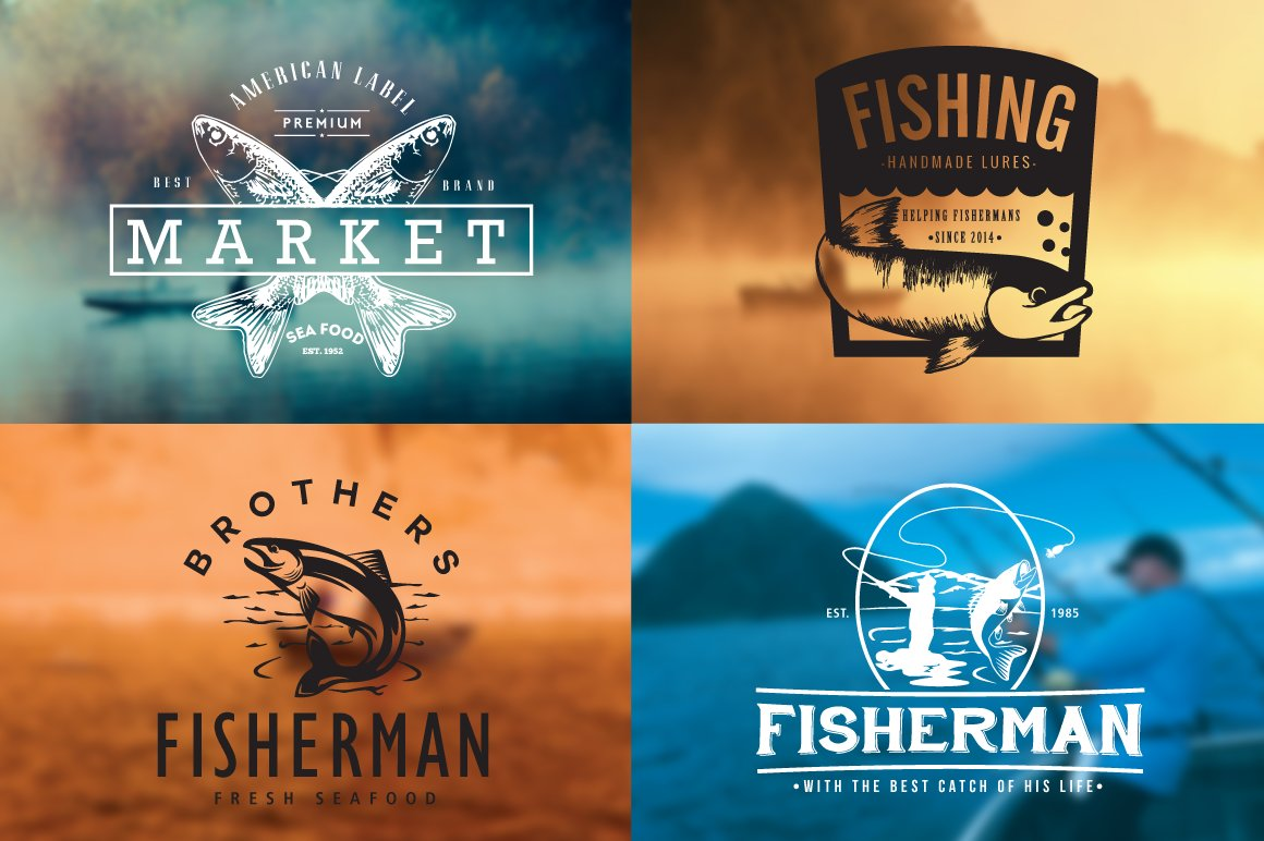 Fishing Vintage Badges Logos Logo Templates Creative