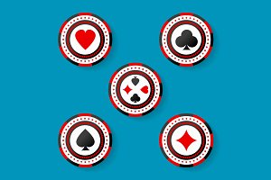 Icon set of casino chips symbols