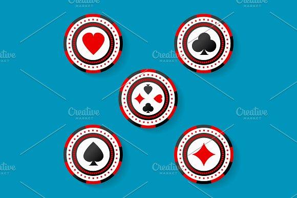 Icon Set Of Casino Chips Symbols
