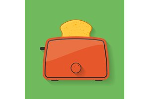 Icon of kitchen appliance - toaster with slice of bread or toast