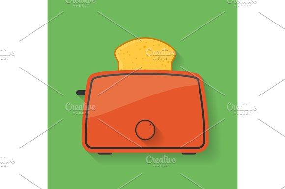 Icon Of Kitchen Appliance Toaster With Slice Of Bread Or Toast
