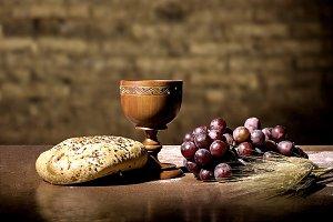 Grapes, wheat, bread and wine