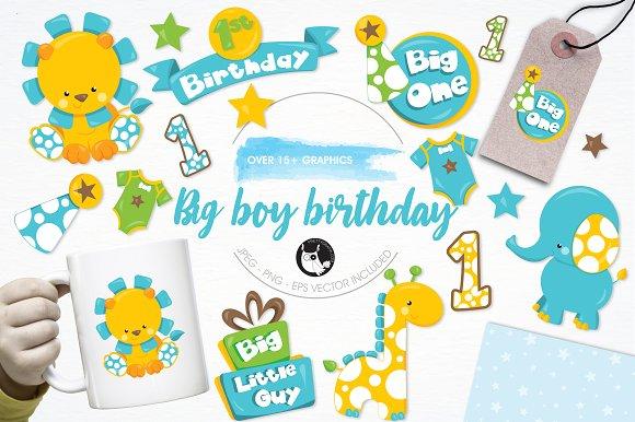Baby Boy Birthday Illustration Pack