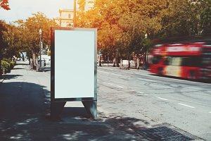 Illuminated blank billboard